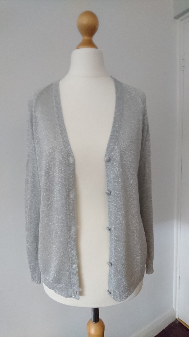 Light Grey Silver Sparkle Shimmer Glitter Vintage button up Cardigan Party Summer Occasion Prom UK 8 10 Retro 1970s 1980s disco