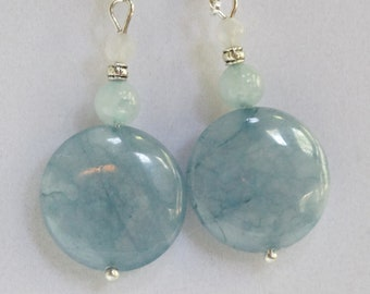 Earrings, Aquamarine and Jade