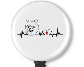 Pomeranian With Red Grunge Bow Badge Reel ID Holder