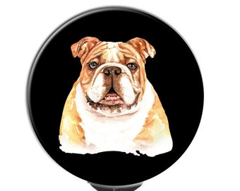 English Bulldog Heart Line Heartbeat Retractable Badge ID Reel For Dog Owners