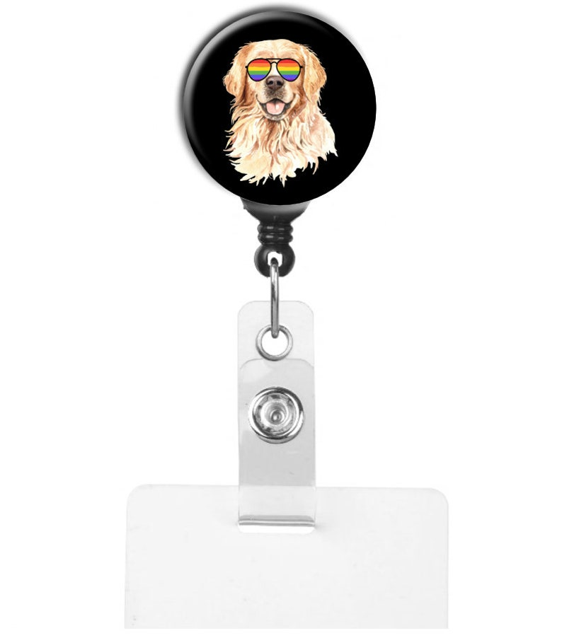 Golden Retriever With Rainbow Glasses LGBT Support Ally  Retractable Badge Reel ID Holder