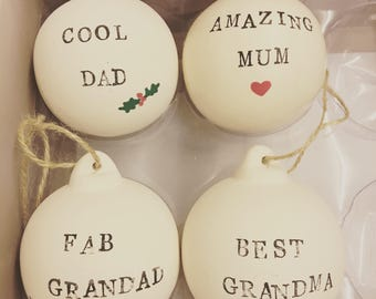 Personalised baubles ceramic tree decoration mum dad family teacher gift