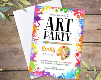 art party invitation etsy