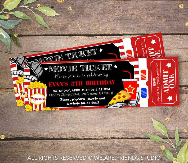 picture relating to Printable Movie Ticket identify Printable Video Bash Invitation - Video Ticket Invitation - Birthday Celebration Invitation - Video Night time Celebration - Design 2
