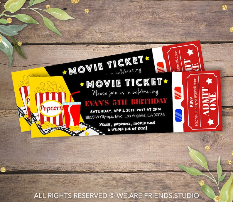 image relating to Printable Movie Ticket Invitation known as Printable Video Bash Invitation - Video clip Ticket Invitation - Birthday Occasion Invitation - Video Night time - Structure 1
