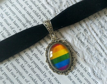 Lgbt velvet pride rainbow cameo choker LGBTQ queer jewelry goth gothic victorian