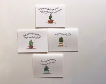 hand lettered succulent and scripture note cards