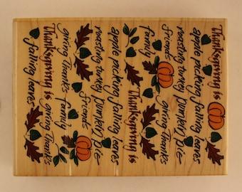 Thanksgiving Is Inkadinkado Rubber Stamp