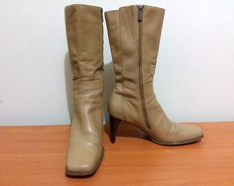 ca37f742b14 Natural tan high heeled ladies sexy genuine leather boots