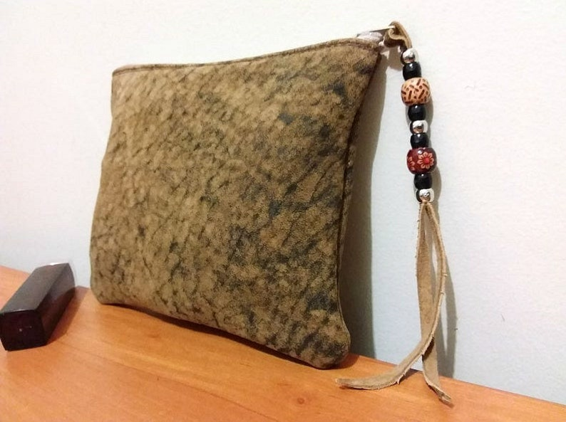 carry stash pouch for a bag Christmas gift clutch glasses case Brown stonewash leather purse small zip money purse boho phone purse