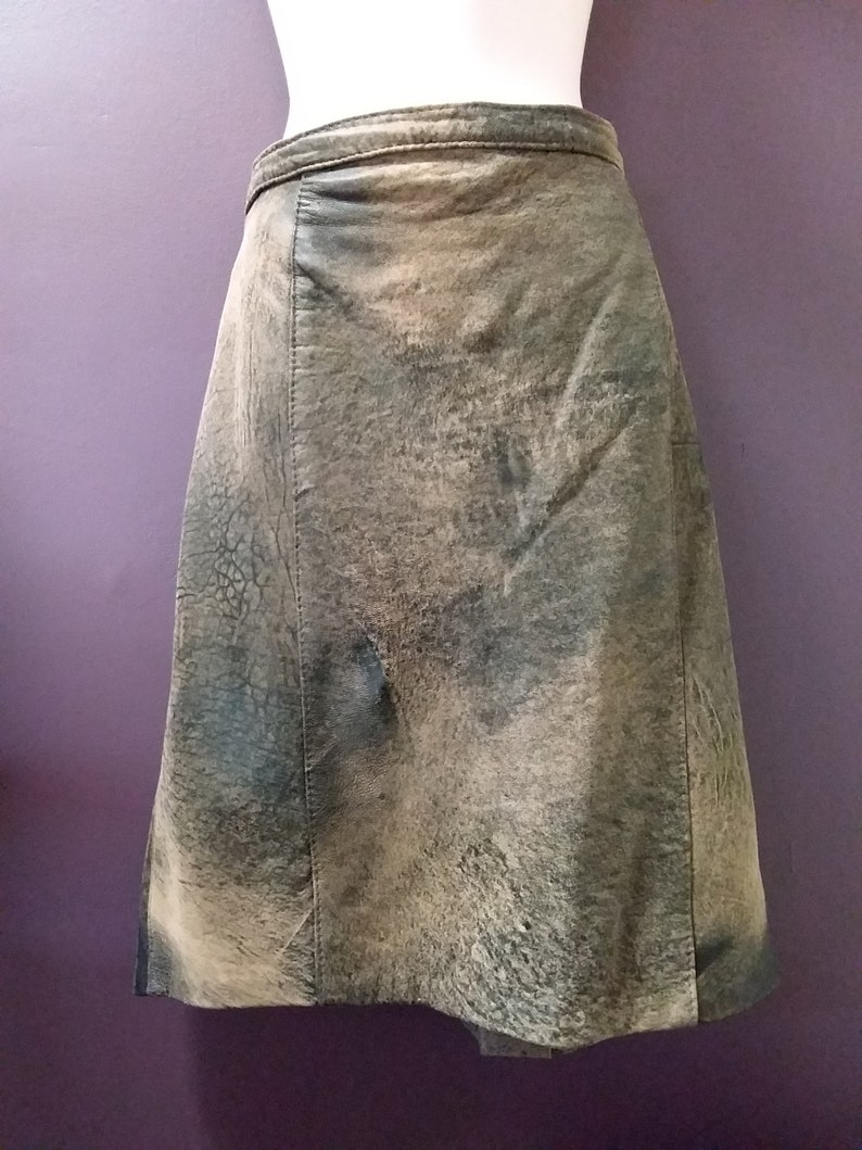 a91ef567c7 80's vintage leather skirt brown stonewash leather | Etsy
