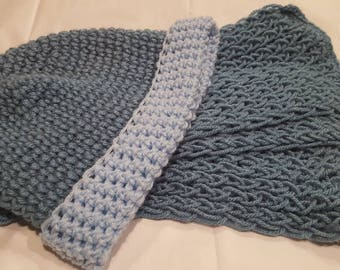 Slate Blue Crochet Adult Winter Hat and Scarf