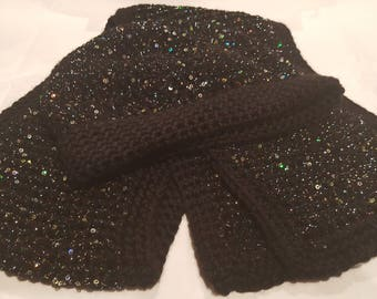 Adult Tunisian Crocheted Black Sequin Hat and Scarf Set
