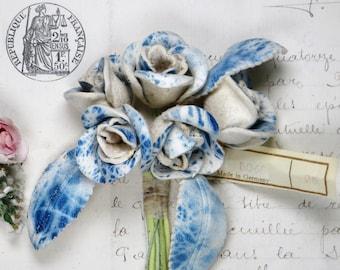 POWDER BLUE MILLINERY Flower Tag 1920s Flapper Hat Bouquet Rose Lilly Geranium Cottage Shabby farmhouse 1950s Antique Ribbon Trim Grosgrain