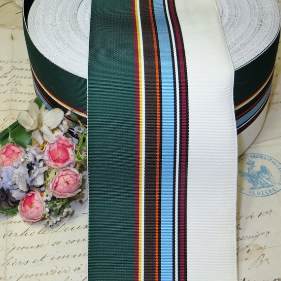 3y BLUE WHT STRIPE GROSGRAIN PETERSHAM HAT RIBBON MILLINERY TRIM JACQUARD VTG