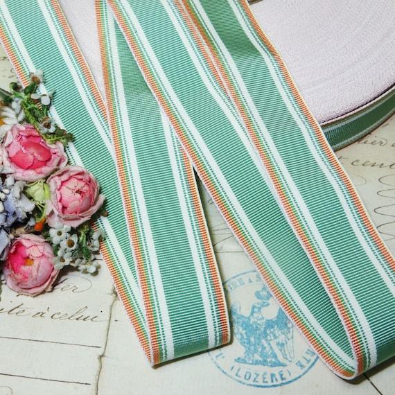 1y FRENCH BLUE GROSGRAIN 1 Ribbon Trim antique Flapper 1920s 1930s Stetson Fedora Petersham Cloche Millinery Flower Cocarde Bow Art Deco
