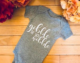 Gobble til you wobble baby bodysuit, Thanksgiving bodysuit, Thanksgiving baby gift, baby shower gift, baby announcement