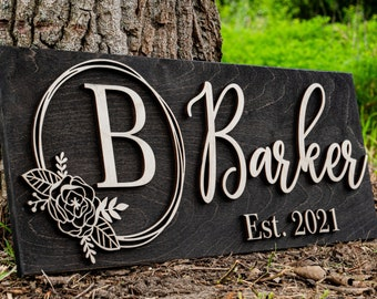 Personalized Wedding Gift Last Name Established Sign Family Name Sign Custom Wood Sign Wooden Anniversary Gift Couple Gift Personalized Sign