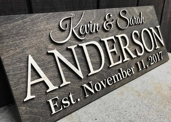 Personalized Wedding Gift Last Name Established Sign Family Etsy