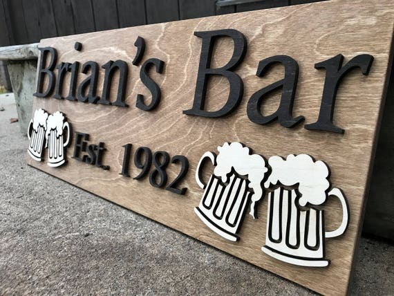 Personalized Bar Sign Wooden Sign Gift Custom Wood Sign Etsy