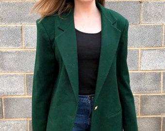 2f3b20dcbdf Minimalist Vintage Hunter Green Wool Blazer Jacket - Prophecy 100% Wool 90s  Blazers Size Women s 14 Oversized