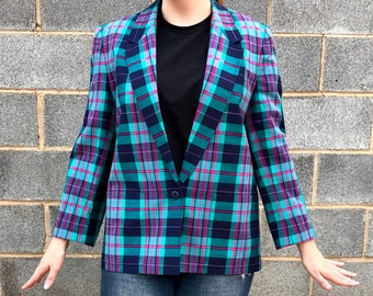 22088e15652fd Teal plaid jacket | Etsy