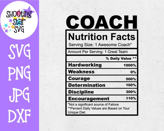 Coach Nutrition Facts Svg Coach Svg Sports Svg Etsy