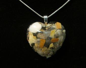 Heart Shaped Resin Seashell Pendant