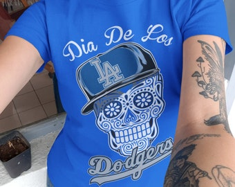 8313f1bfd8c Womens Dodgers Inspired Dia De Los Muertos Tee   Sugar Skull   Dodgers    Los Angeles   Baseball   Dia De Los Muertos   Day Of The Dead