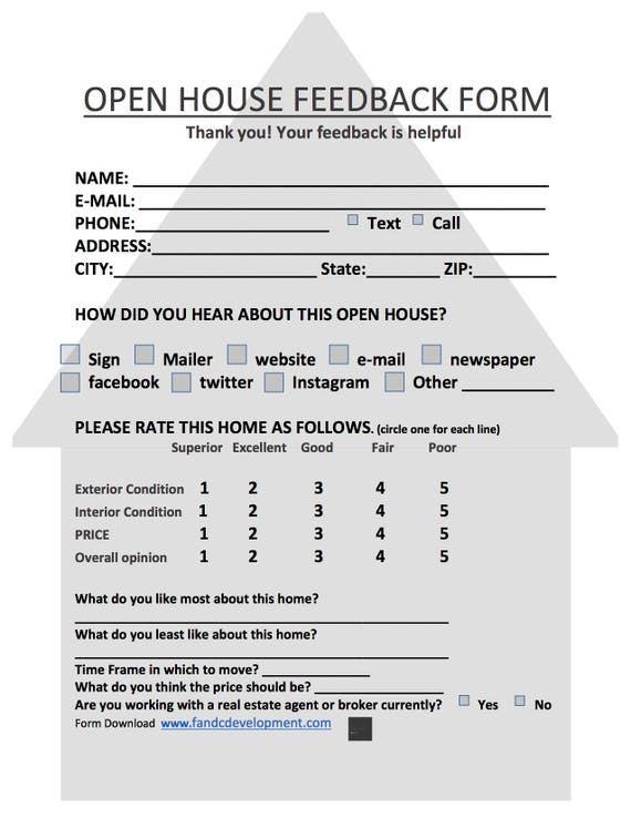 Resource image within free printable open house feedback form