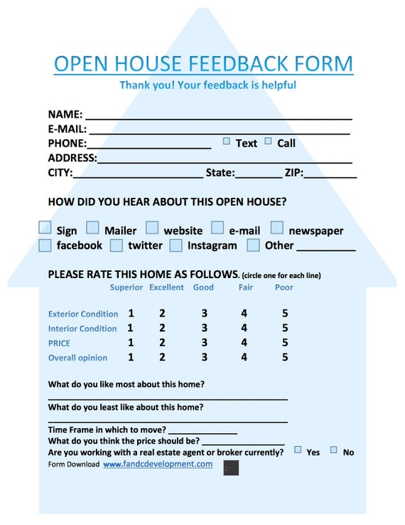 Real Estate Forms Open House Feedback Form Open House Sign In Sheet Realtor Download Instant
