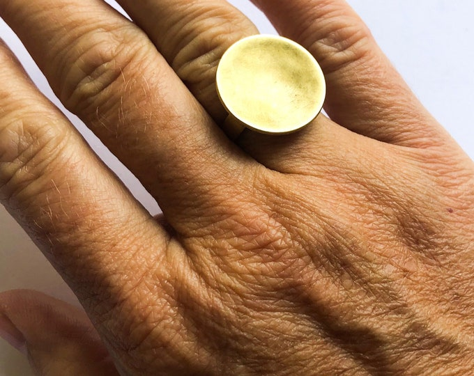 Brass rings: handcrafted concave brushed brass disc rings
