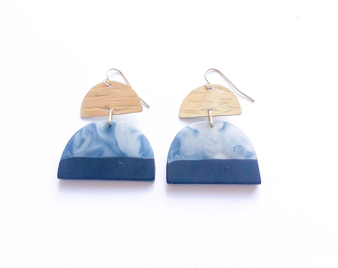 Resin earrings, contemporary handmade smokey blue grey and deep blue with brass details