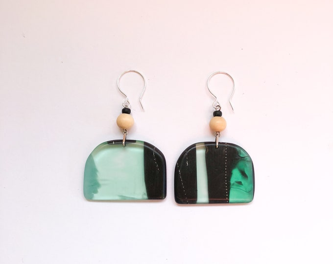 Holidays in Greenland, from our Swinging Sisters range of handmade resin earrings, bold contemporary colors.