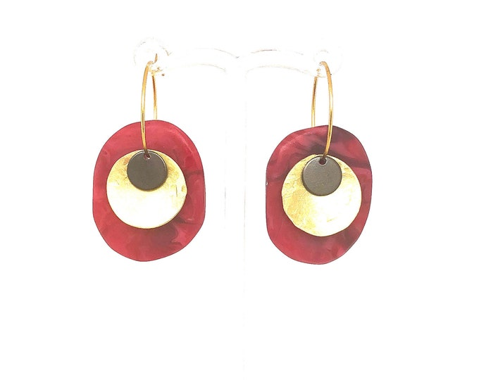 Resin earrings: contemporary handmade fuchsia hoops, with brass disc detail