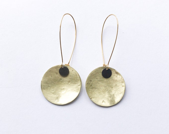 Brushed brass earrings, with large disc and oxidised metal detail