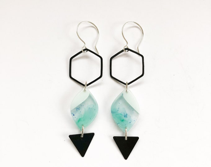 Contemporary Handmade Resin Earrings Icelandic Drop