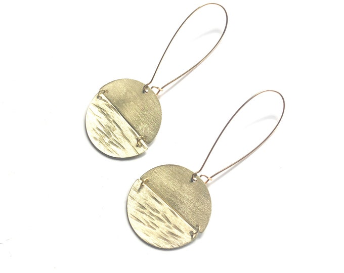 Brass dangle earrings: contemporary handmade rounds with textured brushed brass