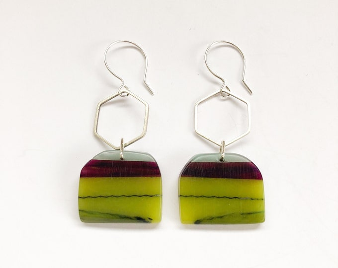 Swinging Sisters, vibrant green, purple and baby blue resin handmade earrings with silver geometric detail