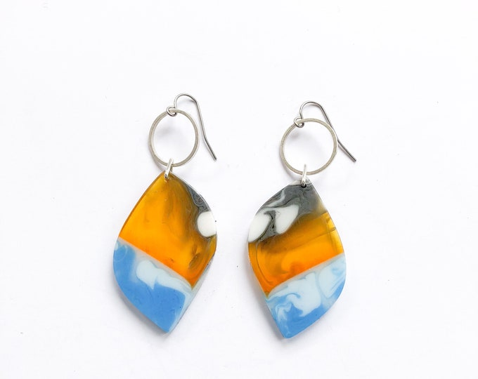 Contemporary Handmade Resin Earrings Antipodes, from our Swinging Sisters range of handmade resin earrings