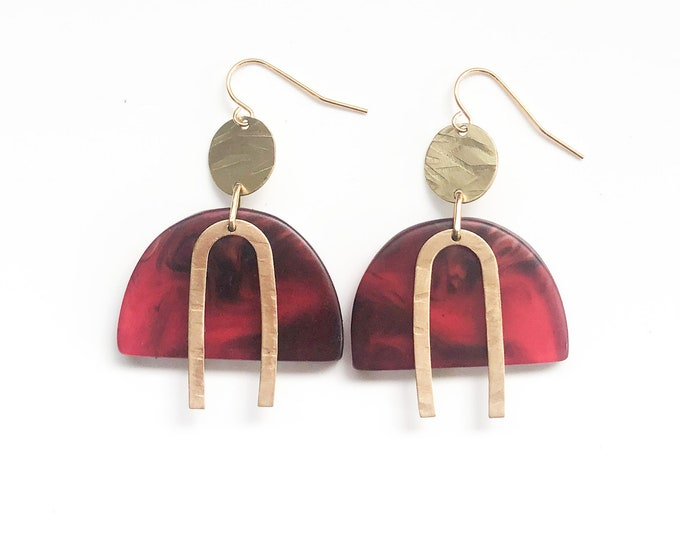 Resin earrings: ruby red contemporary handmade originals with brass details
