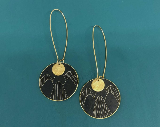 Brass etched patina earrings; handcrafted originals, black etched discs with brass details