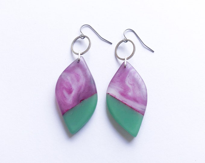 Resin earrings, contemporary handmade; marbled purple and spearmint green leaf shape drops