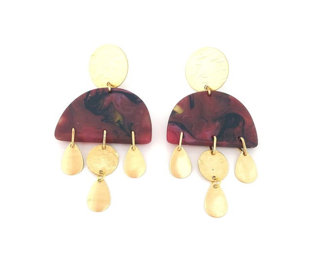 Resin earrings: handmade originals, crimson red dangles with marbled black and yellow, brass teardrops details