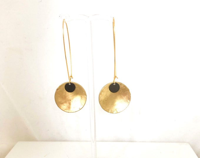 Brushed brass drop earrings with small concave disc and oxidised brass detail