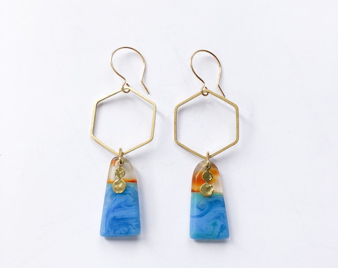 Contemporary Handmade Resin Earrings Antipodes, handmade original resin earrings from our Swinging Sisters range