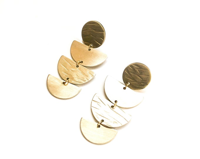 Brushed brass handmade drop earrings: semi circle dangles with stud fixture