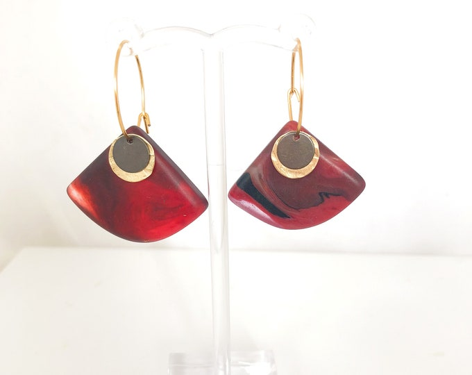 Resin earrings: handmade original hoops with crimson red marbled resin and brass detail