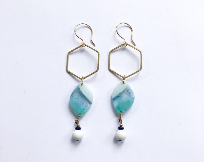 Contemporary Handmade Resin Earrings Icelandic Drops, original handmade resin earrings from our Swinging Sisters range