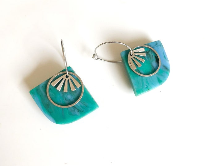 Resin earrings: contemporary handcrafted vibrant turquoise and blue hoops with silver details